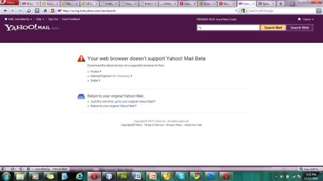 Yahoo! Mail Not Supporting the Opera Browser